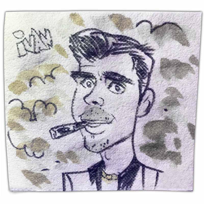 "Napkin art caricature with name ""Ivan"""