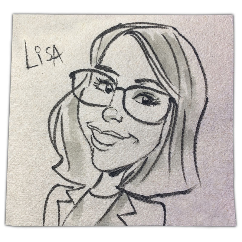 "apkin art caricature with name ""Lisa"""
