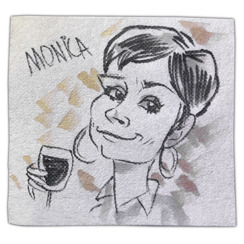 """apkin art caricature with name """"Monica"""""""