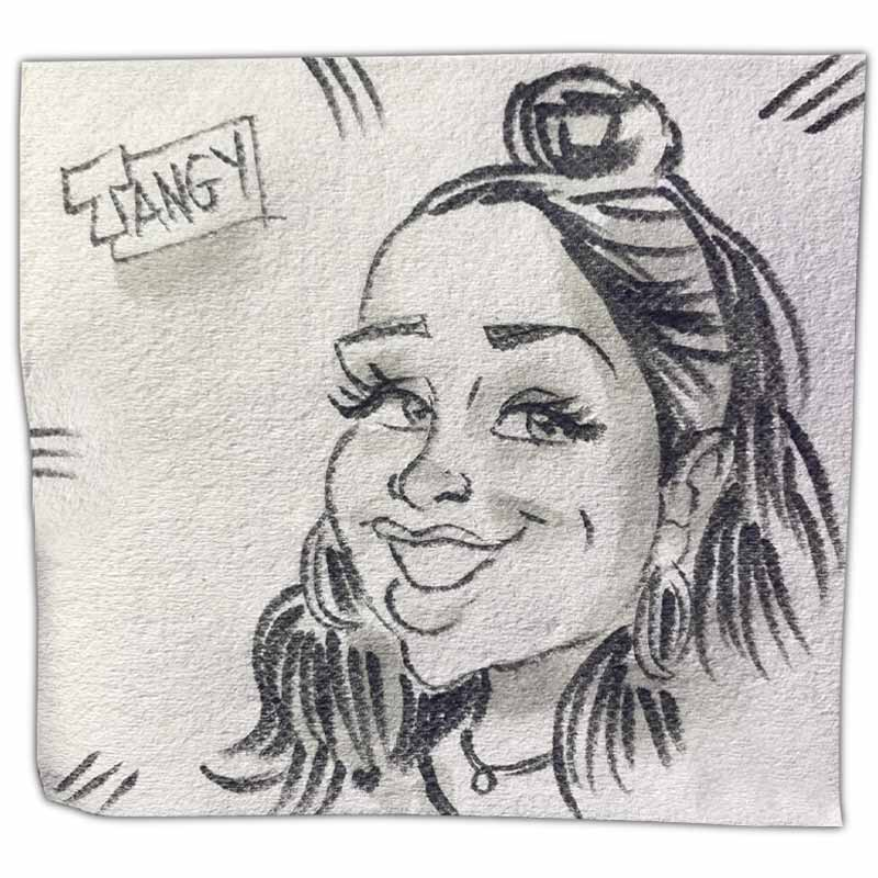 """Napkin art caricature with name """"Tangy"""""""