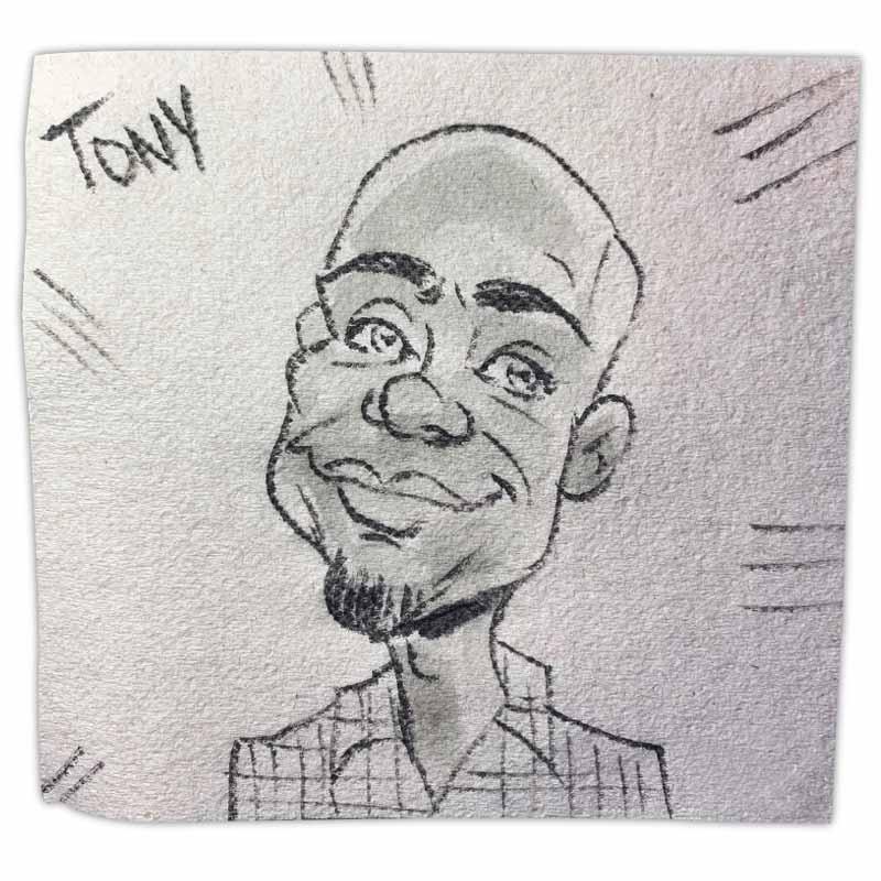 "Napkin art caricature with name ""Tony"""