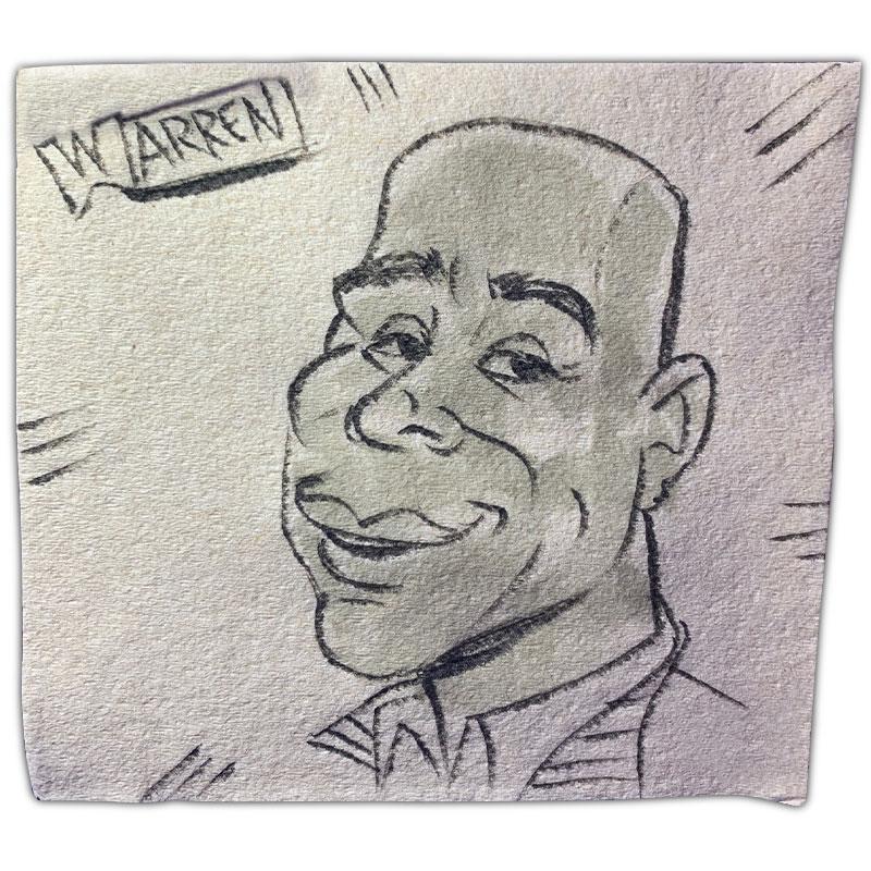 "apkin art caricature with name ""Warren"""