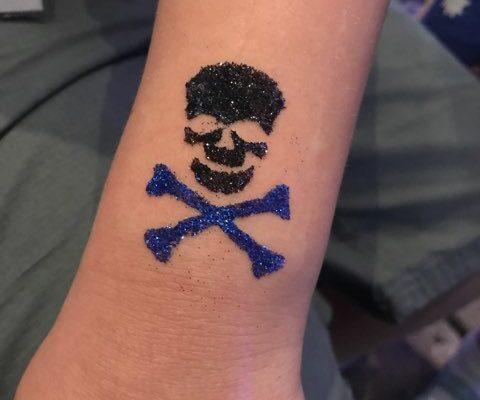 Skull and Crossbones Glitter Tattoo